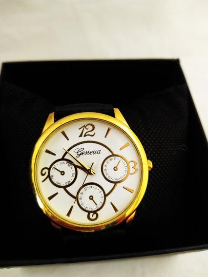 Relógio De Luxo Masc. Aço Pulseira De Couro Preto Fundo Brac