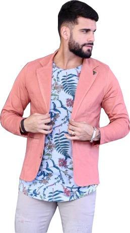 Blazer Slim Masculino Rosa Salmon - Pronta Entrega