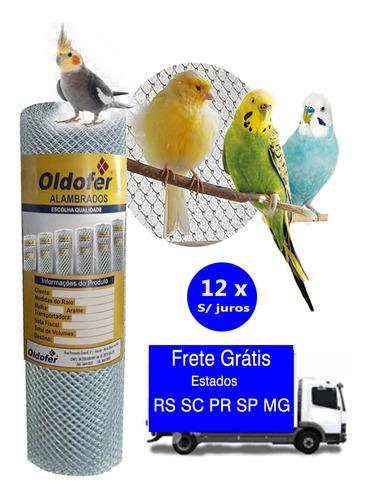 Tela Viveiro De Pássaros- 25m X 1,20h Malha 1,5 Fio 18