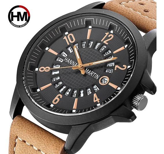 Reloj Nuevo Original De Pulsera Hombre Caballero Tipo Militar Con Calendario Moda Elegante Casual Correa Negro, Cafe
