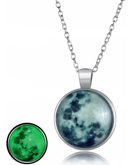 Collar Luna Llena Brilla En La Oscuridad 3d + Envio