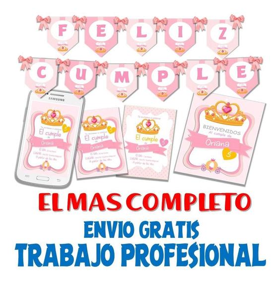 Kit Imprimible Personalizado Candybar Corona Coronita Dorada