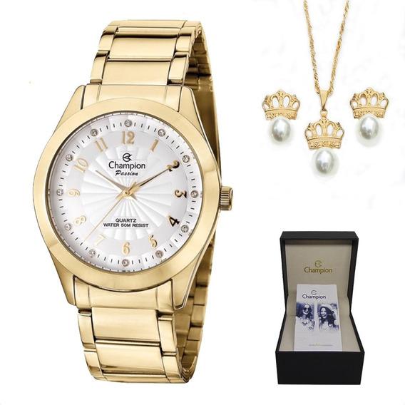 Relógio Champion Feminino Dourado + Colar E Brincos