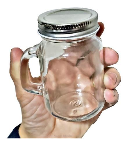 25 Mini Caneca Vidro Mason Jar Sem Furo 130ml Lembrancinha