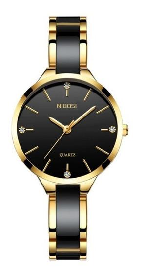 Relógio Feminino Nibosi Luxo Original Aço Inox Com Cerâmica