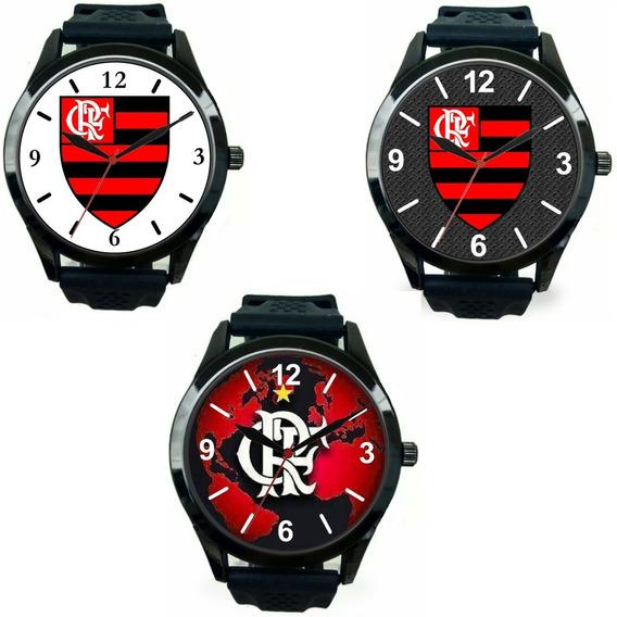 Kit 3 Relógio Pulso Flamengo Barato Revenda Masculino Esport