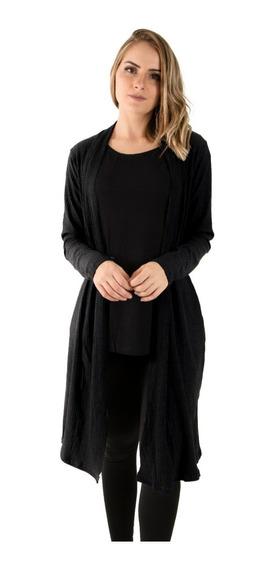 Cardigan Feminino Canelado Casaquinho Blusa Longo