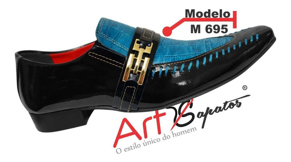Sapato Masculino Em Couro Preto C/ Azul Piscina Ref: 695