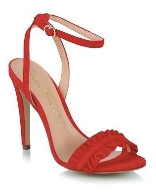 Sandália Luiza Barcelos Salto Alto Babados Vermelha 10470170