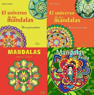 Libro De Mandalas Para Colorear.4 Ejemplares+caja De Lapices