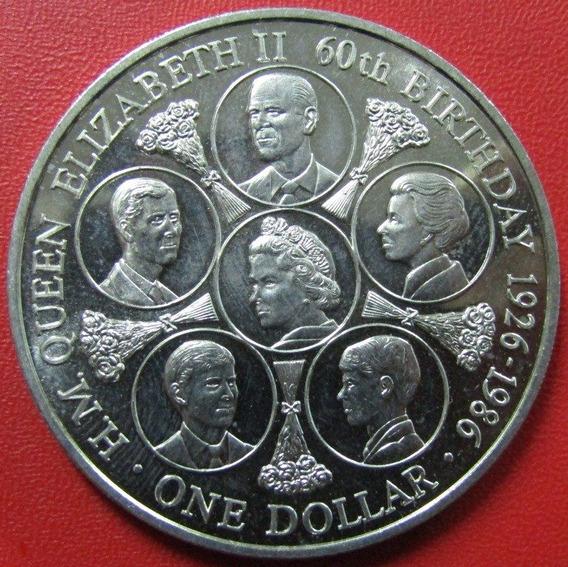 Islas Cook Moneda 1 Dolar 1986 Unc 60º Aniv De La Reina
