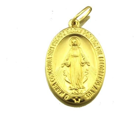 Pingente Medalha Nossa Senhora Ouro 18k Lembrança J20832