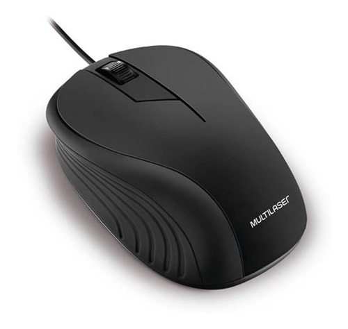 Mouse Multilaser Emborrachado Preto C Fio Usb 1200 Dpi Mo222