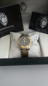 Relogio Constantin Diamonds Mixed Black C/ Brilhantes