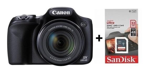 Câmera Digital Canon Powershot Sx530 Hs+ Sd32gb+ Bolsa+ Nf