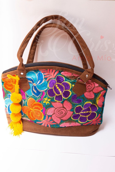 Lote 12 Bolsas Artesanal Mexicano Gamuza Y Flores Bordadas