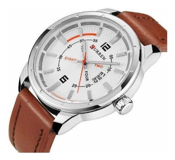 Relógio Luxo Original Pulseira Couro Casual Promoção Data
