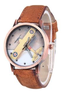 Cod 892 - Reloj Disney Avión Malla Cuero - Joyas Margaret