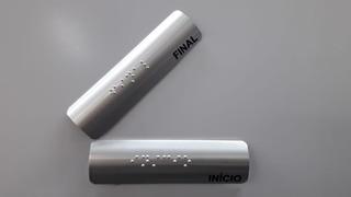 2 Pçs Placa Para Corrimão Braille Início Fim