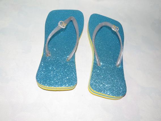 Chinelo Personalizado Laranja Azul Prata Brilhostrassdourado