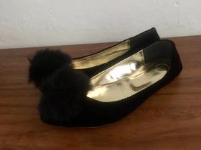 Env. Barato: Flats Talla 24 | Negro Gamuza Pompón Mujer Dama