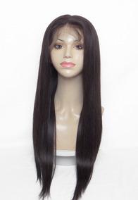 Peruca Full Lace Com Silk Top De Cabelo Humano, 60cm, Lisa