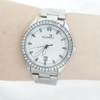 Reloj Para Dama Plateado, Con Caja De Regalo, Envio Gratis