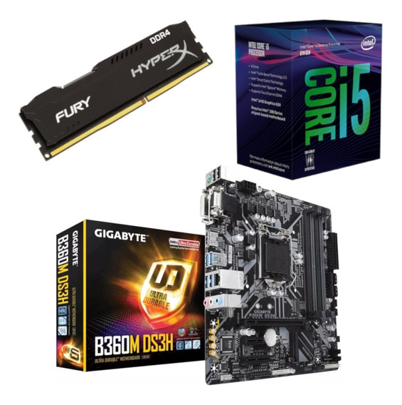 Kit Intel I5 8400 + Gigabyte B360m Ds3h + Hx 8gb 2400