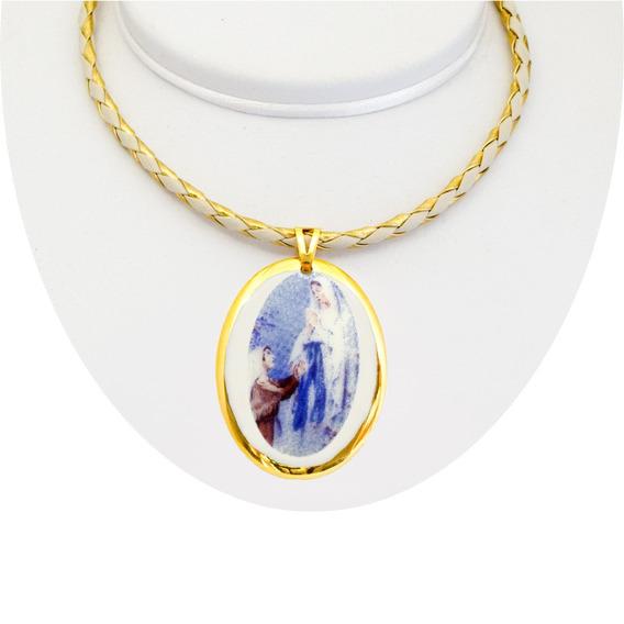 Medalha Nossa Senhora Lourdes Ouro Pequena E Corrente Couro