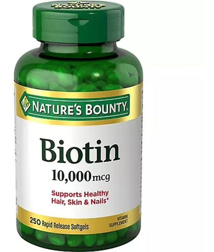 Biotin 10000mcg 250 Softgels Nature's Bounty® Importado Usa