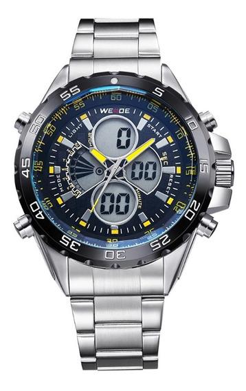 Relógio Masculino Weide Anadigi Wh-1103 - Prata E Amarelo