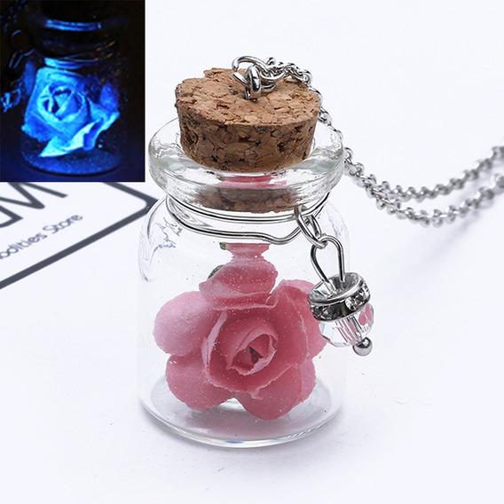 Colar Brilha No Escuro Luminoso Garrafa Flor Rosa