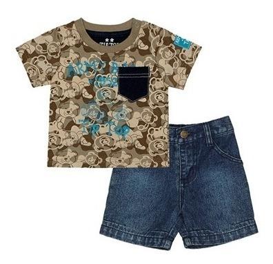 Conjunto Camiseta E Short Jeans Bebê Tip Top Tam P