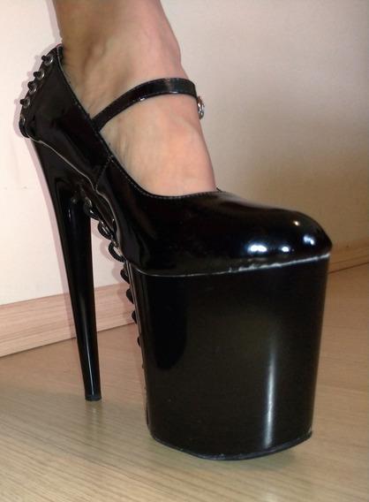 Sapato Salto Alto 20cm De Salto, Em Verniz Peça Única