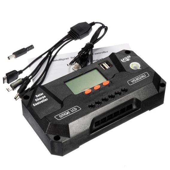 Controlador Carga Solar 12v 24v Lcd Pwm 80a Envio Rápido