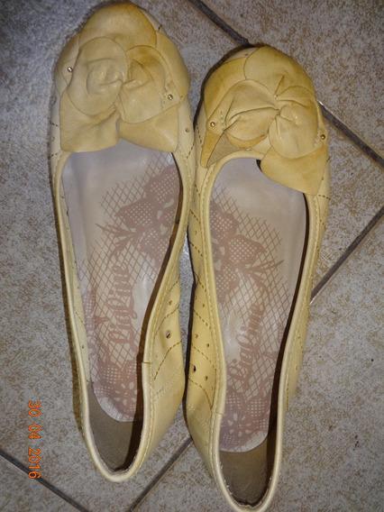Sapato Couro Amarelo