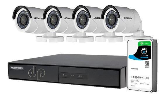 Kit Seguridad Hikvision Dvr 8ch + 1tb +4 Cámaras Hd Exterior