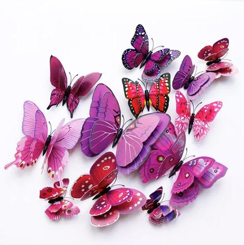 Mariposas Caladas 3d Coloridas 12 Piezas Adhesivo + Iman