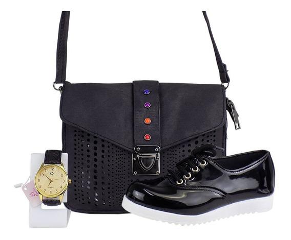 Kit Bolsa Feminina + Relógio Delicado + Sapatenis Oxford