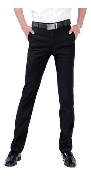 Pantalón De Vestir Slim Hombre -semi Chupin Hombres Oficina