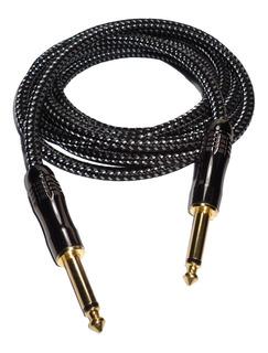 Cable Guitarra Electrica Bajo Plug De Lujo Textil 9 Mts