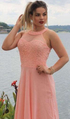 Vestido De Festa Longo Madrinha Marsala Rosê Coral Tiffany