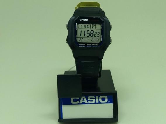 Relógio Casio W 800-1av Unissex Preto Alarme Original 100mt