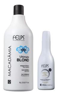 Felps Macadâmia Ultimate Blond Selagem Térmica 1 Litro + Shampoo Brinde