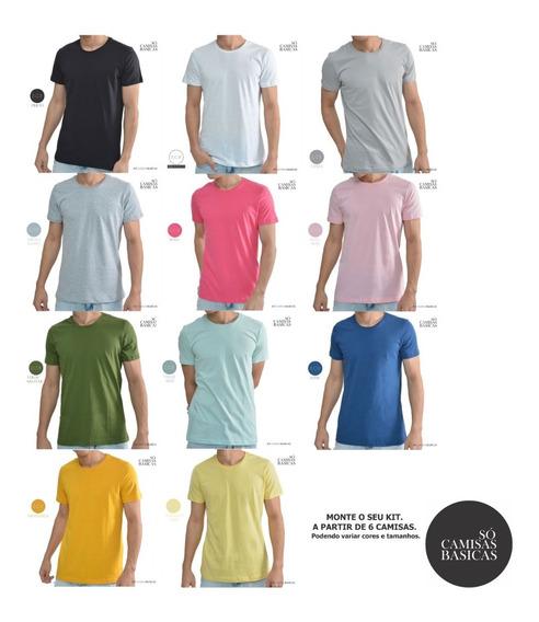 Kit 06 Camisetas Masculinas Blusas T-shirts Slim Fit Básicas