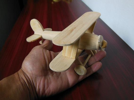 Juguetes De Madera Pino Avión Aeroplano Artesanía De Niños