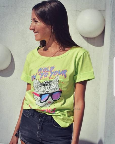 Remera Algodon Gatito Gafas Mujer