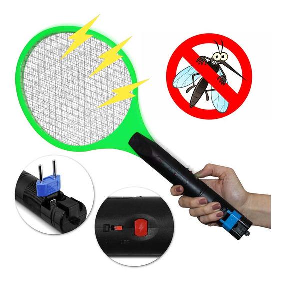 Raquete Elétrica Mata Mosca Mosquito Pernilongo Bivolt Verde