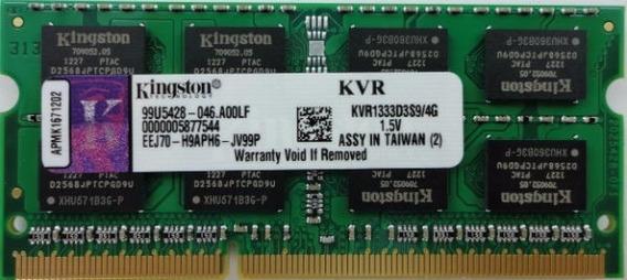 Memoria P/note 4gb Kingston Ddr3 1333mhz Kvr1333d3s9/4g