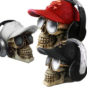 Caveira Crânio Boné Fone Ouvido Estatuetas Decorativa Resina
